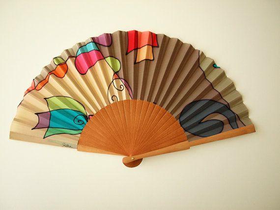 Handpainted Silk hand fan-Wedding hand fan Silk hand by gilbea