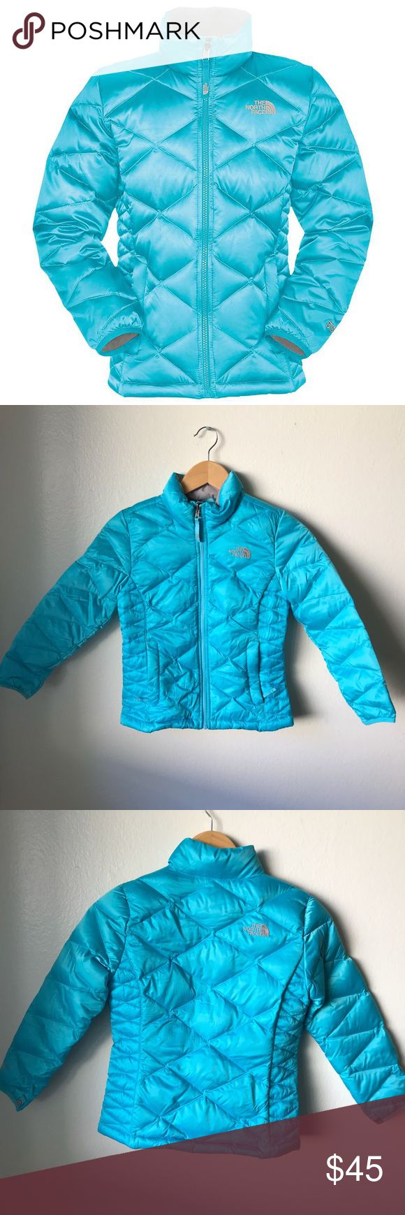 Girls North Face Blue Puffer Jacket Size 7/8 The jacket is in a great condition, has a tiny dark line but not noticeable from steps away. Overall the jacket is in great condition! I bought it because we were supposed to go to the mountains and didn't go after all this past year, now it doesn't fit my princess. North Face Jackets & Coats Puffers