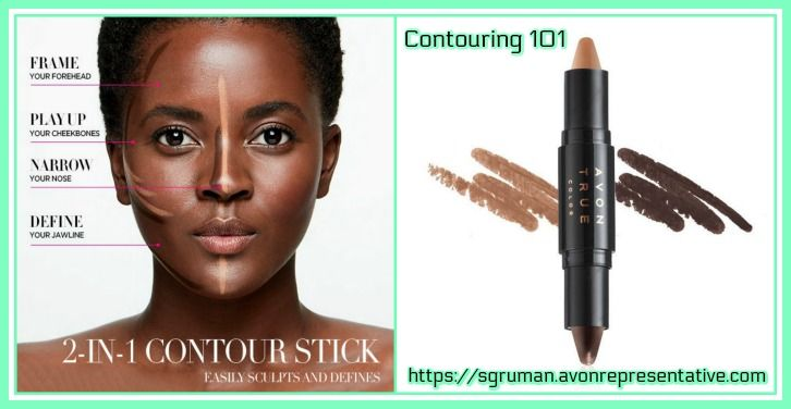 Contouring made easy, the Avon way! Avon's new True Color oil-absorbing, dual-sided Transforming Contouring Stick lets you add quickly playup and define facial features that you wish to accentuate, while narrowing features (such as your nose, chin or neck) that you would like appear slimmer. The darker side of the stick creates shadows and contours, while the lighter side defines and creates contrast. It applies like a silky gel with matte powder finish for a silky coverage. and is available…