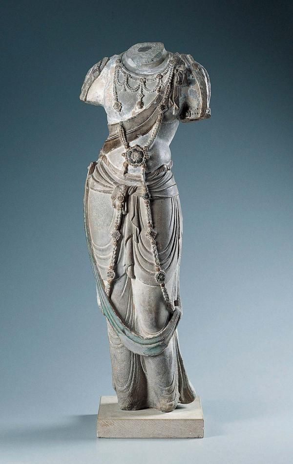 """Bodhisattva Torso, China, Tang dynasty (c. 775–800). Stone, traces of gesso and pigment, 39""""H x 12 15/16""""W x 8""""D; Kimbell Art Museum."""