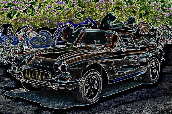 Original photograph of a Vintage Chevrolet Corvette manipulated into neon styled artwork. Unique smaller staging print for man caves, garages, he shed wall art. Colorful image for the avid car collector gallery. Fun greeting card for all occasions for the guys in your life! Fantastic coffee mug print!  Great gift idea!  Man caves, he sheds, garage art, guy art, art for sale, gift ideas for men, Lesa Fine