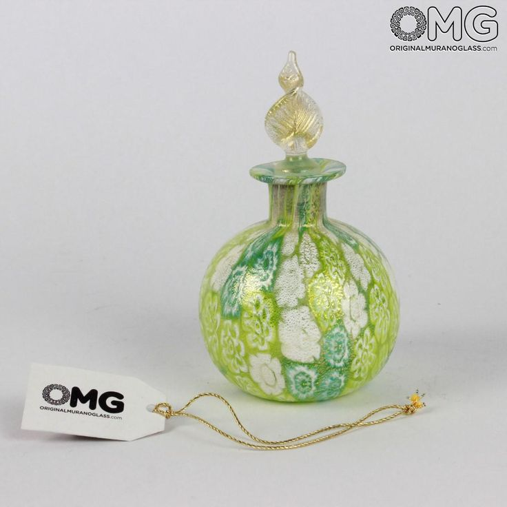 Scent Bottle Millefiori Green with Leaf - Murano Glass