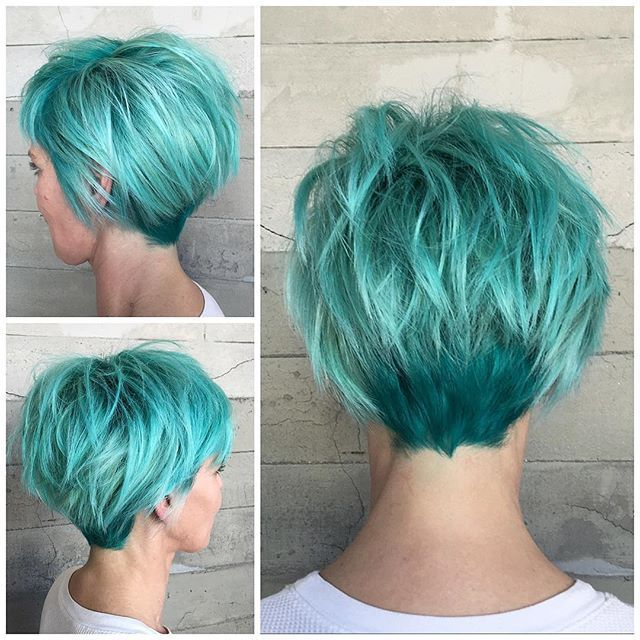 Mint green hair color and shot haircut messy hair style by Alexis Thurston http://www.hotonbeauty.com