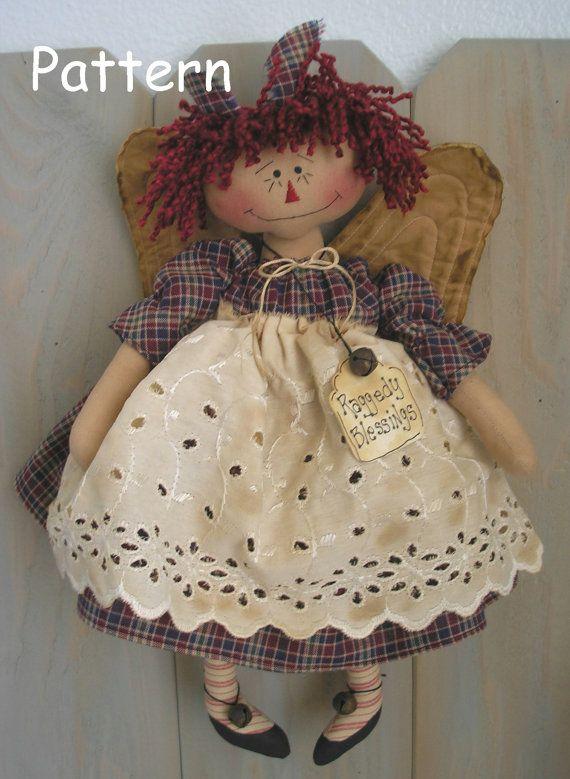 Raggedy Ann Angel Primitive Folk Art Annie Cloth Doll Country Decor Sewing Craft