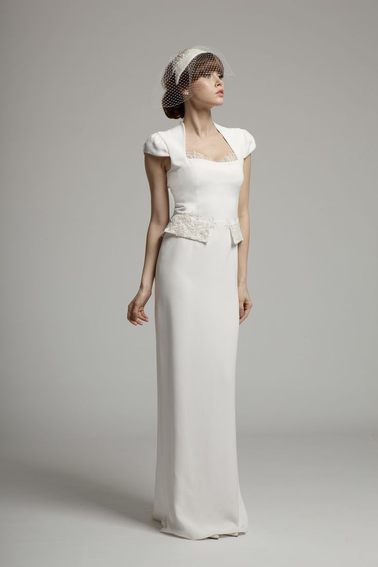 Lena - Modest silk crepe dress from Melanie Potro's new 2014 Bridal Wear Collection. Lace detail along neckline and peplum