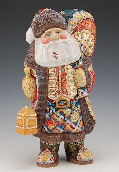 Decorative Santa and Lantern Russian Carved and Hand Painted
