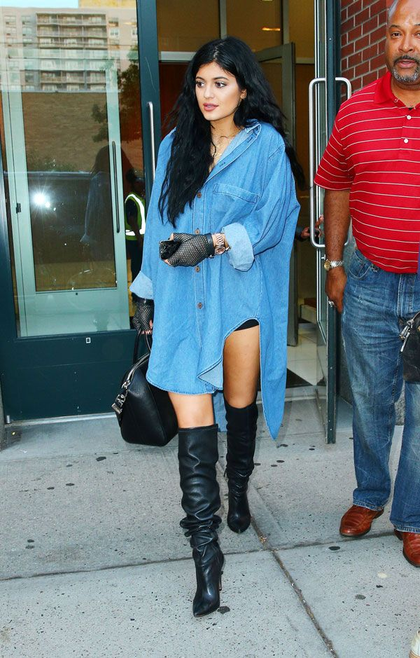 Radar Online   Did Mom Kris Approve? Kylie Jenner, 17, Steps Out In JUST Denim Shirt And Thigh-High Boots!