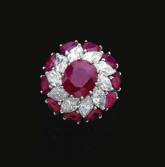 Magnificent Cluster Design Rubies & Diamonds Ring