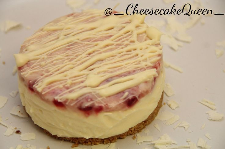 Cheesecake Queen cheesecakes!  Digestive biscuit base with white chocolate cheesecake and raspberry  http://instagram.com/_cheesecakequeen_/