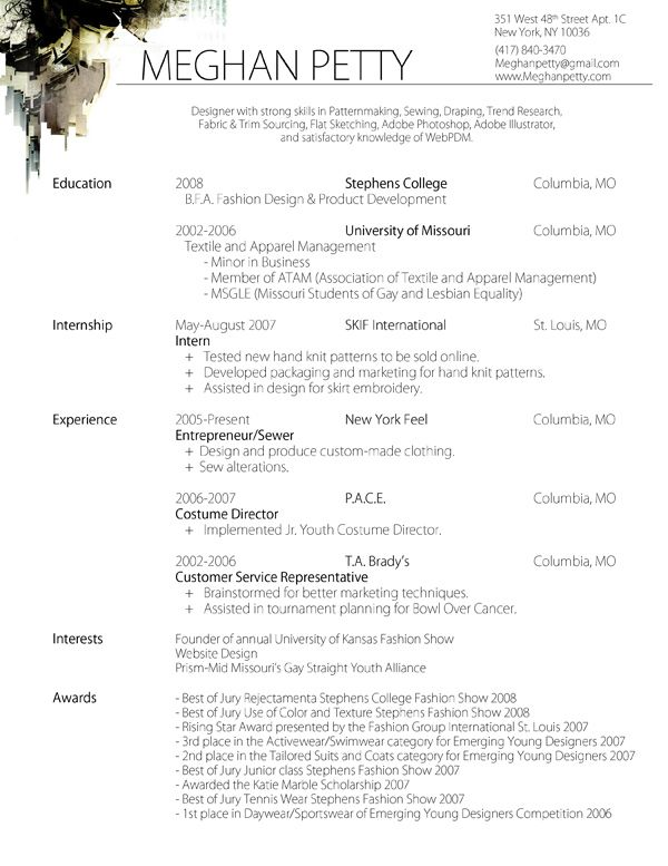 fashion design internship resume sample