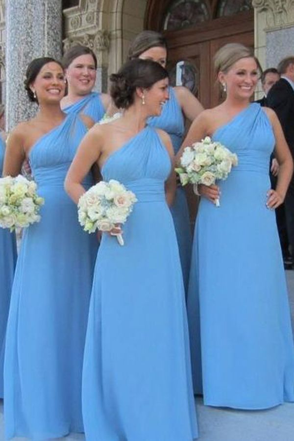long custom One Shoulder bridesmaid dress, elegant popular Cheap bridesmaid dress, FS2836