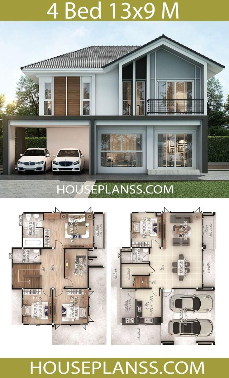 House Plans Design Idea 13x9 With 4 Bedrooms House Plans 3d House Plans Design Idea 13x9 Wi House Construction Plan Small House Plans Beautiful House Plans
