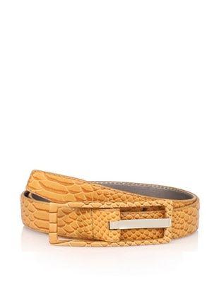 Calvin Klein Women's Covered Centerbar Lizard Print Leather Belt