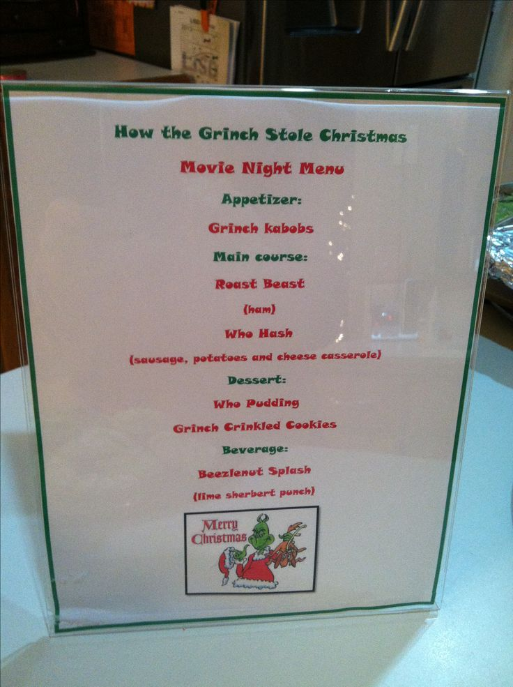 How the grinch stole Christmas movie night dinner menu