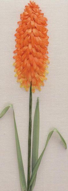 A-Z of Silk Ribbon Flowers - Kniphofia by Ann Cox