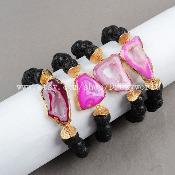 Gold Plated Hot Pink Agate Druzy Geode Slice Bracelet Black