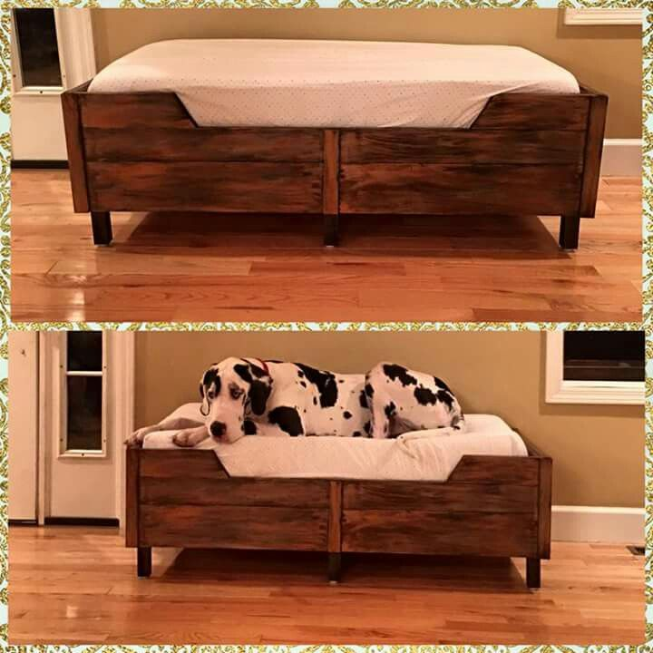 Great dane bed with toddler mattress. I SOO NEED THIS. I will make one. ;)