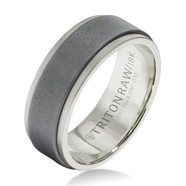 Raw matte Tungsten Carbide insert complements an 18-karat White Gold band to create an edgy look that will never go out of style. From TritonRAW