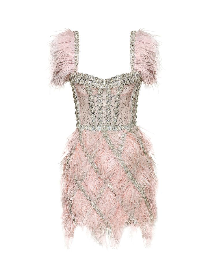 Feather-embellished flower embroidered mini dress