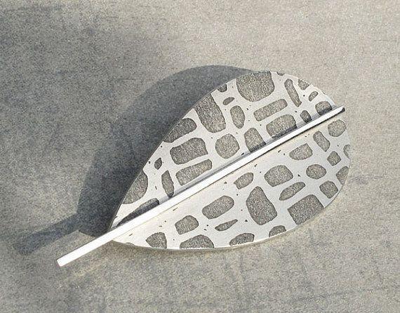 Aluminum alder leaf brooch by lumikana on Etsy