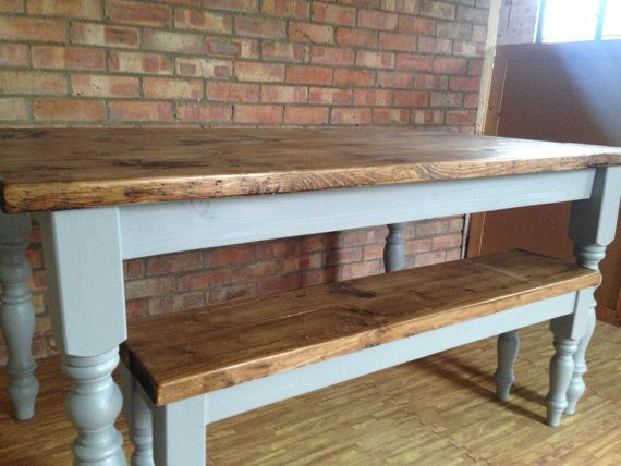 Handmade farmhouse dining table and bench made from reclaimed timber. Heavy duty table top and Beautiful turned legs painted with any farrow & ball colour  Please contact before ordering to discuss delivery options