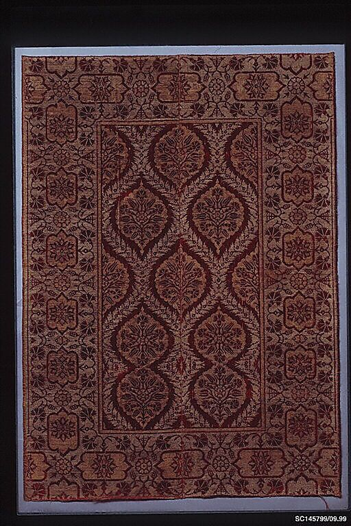 Panel  Date:     early 17th century Geography:     Turkey, Bursa Culture:     Islamic Medium:     Silk, cotton, metal wrapped thread; cut and voided velvet, brocaded