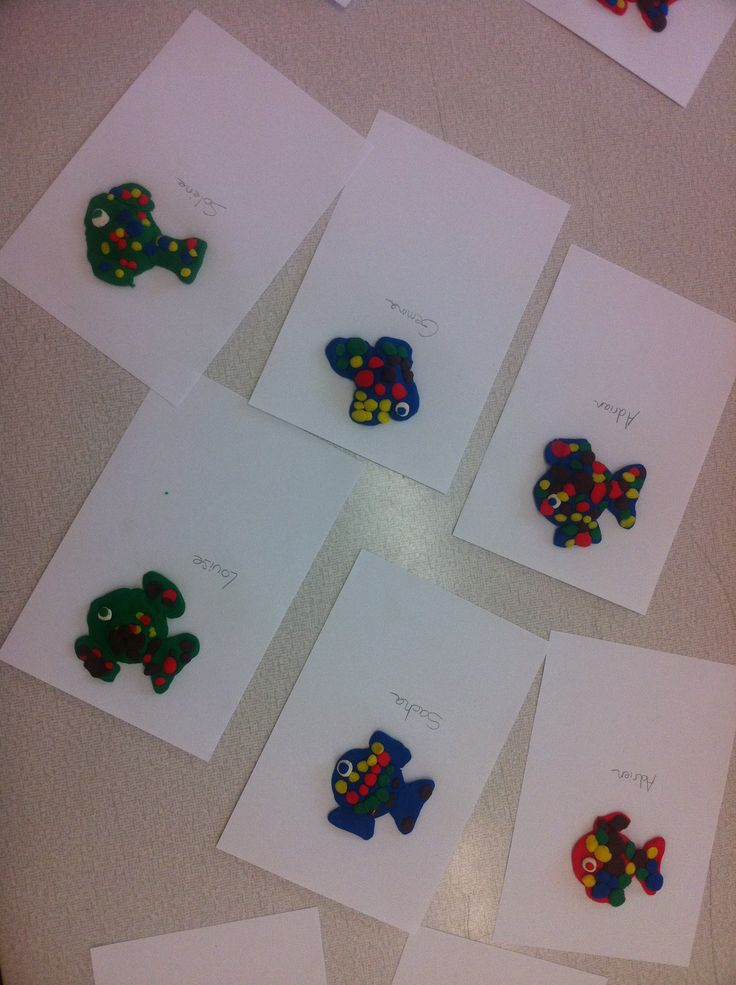 THE RAINBOW FISH Magnets made with playdough