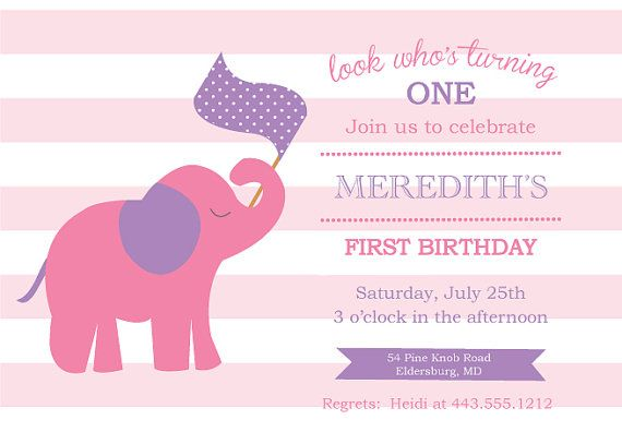10 best Pink elephant invitation images – Elephant Party Invitations