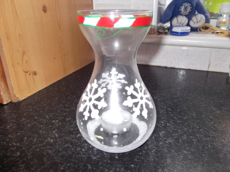 Recycled glass painted tea light holder