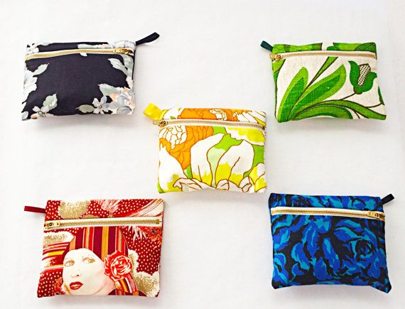 SALE 20% off for Mom's Day gift guide. Zipper pouch, coin purse, zipper bag, wristlet- perfect for Mother of the Groom gift, Mother of the Bride gift and particularly Bridesmaid gifts.    REDUCED from $18 to $14.40    FREE SHIPPING!      I love to find bits of unique fabric and this is the perfect way to show them off.  Pulling one of these lovely little bags from your handbag always brings a smile.  They are the perfect size for to use for a wristlet- notice there is a little ribbon loop…