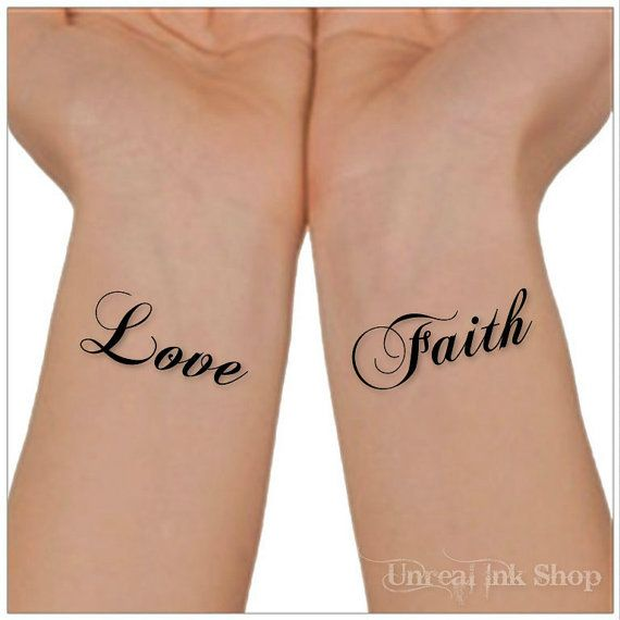 Temporary Tattoo Love Faith Wrist Tattoos