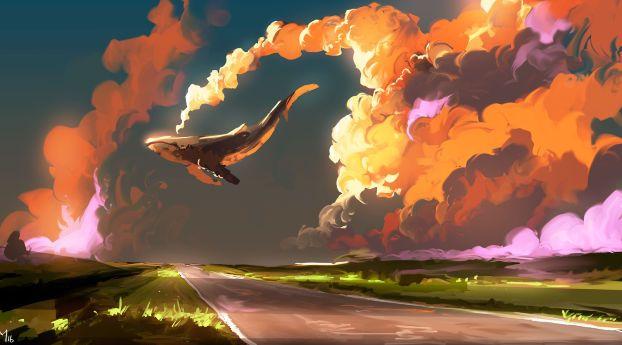 Cloud Sky Whale Wallpaper Hd Fantasy 4k Wallpapers Images Photos And Background Sky Digital Sky Art Digital Artwork Fantasy