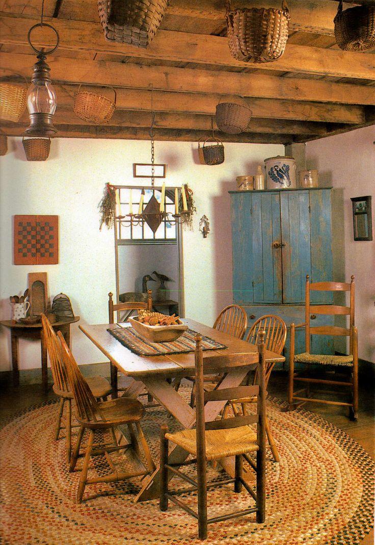 nice kitchens blue cupboards prim primitive dining rooms primitives