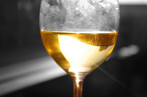 Dirty glass of wine