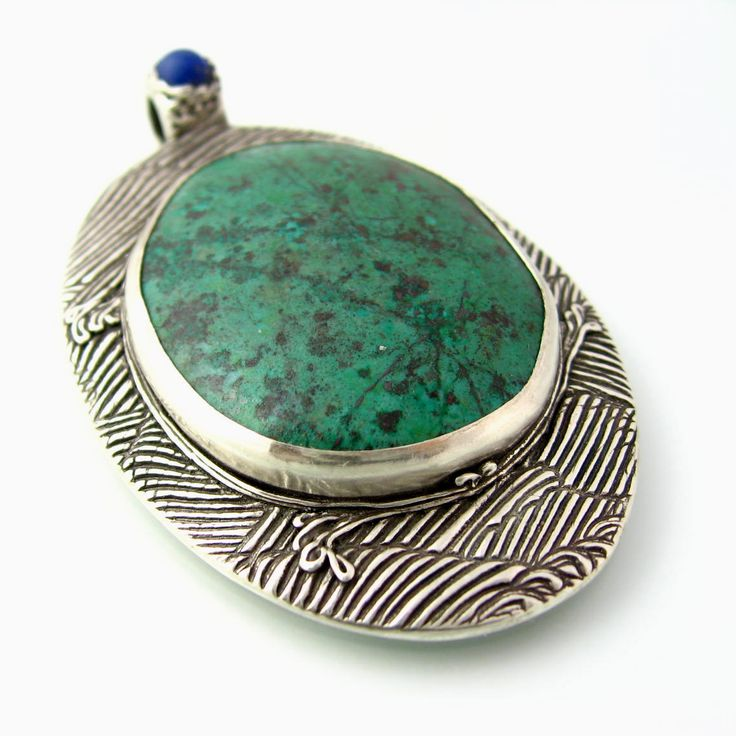 Fine Silver Pendant with Chrysocolla and Tiny Lapis