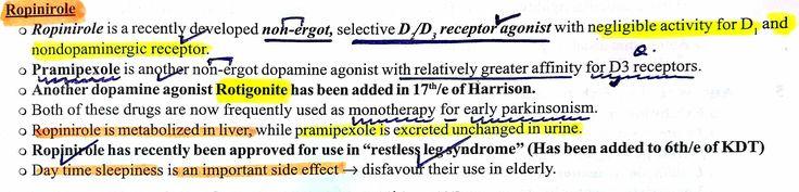 Ropinirole - Restless leg syndrome ... #Pramipexole #Rotigonite #Non ergot #Dopamine receptor ...