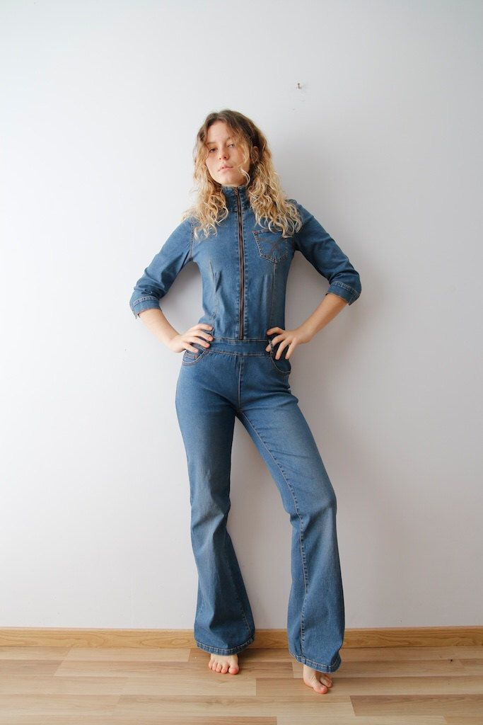 Vintage Denim Jumpsuit Long Sleeve Jumpsuit Jeans Jumpsuit Vintage Jeans Jumpsuit Workwear Overalls Small Size Rompers Festival Jumpsuit by GrandmotherVtgRoom on Etsy https://www.etsy.com/listing/478293836/vintage-denim-jumpsuit-long-sleeve