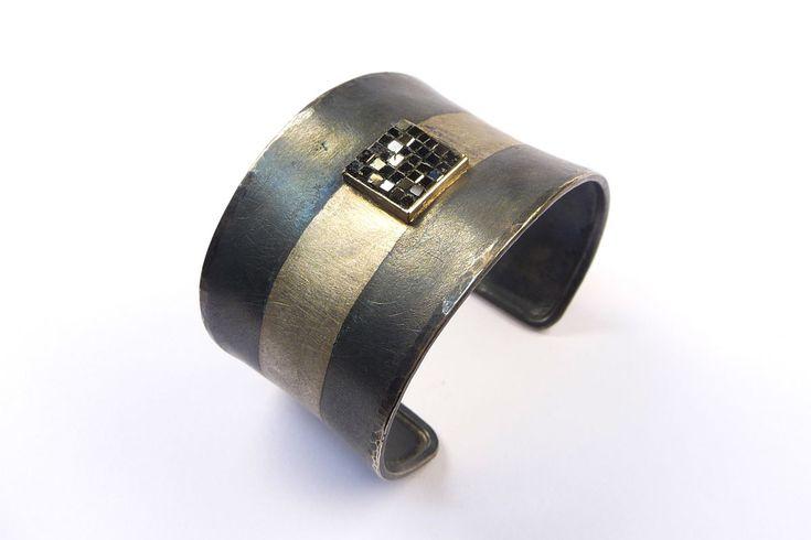 Armreif Silber / Platin, Diamant-Würfel