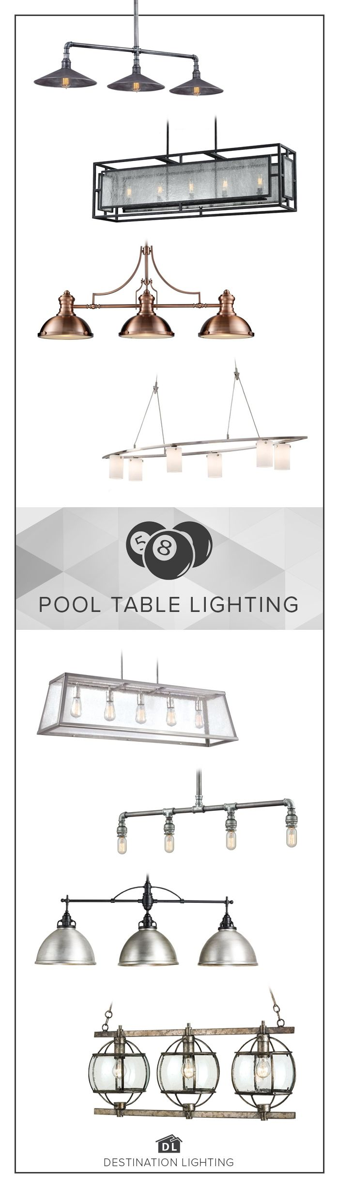 Best 25 pool table lighting ideas on pinterest industrial pool refresh the lighting in your game room with these 8 gorgeous pool table lights greentooth Choice Image
