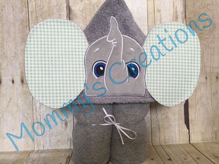 """Elephant Applique Hooded Bath Towel, Beach Towel 30"""" x 54""""  Personalization Available by MommysCraftCreations on Etsy"""