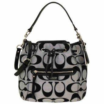 Coach 25676 Daisy Outline Signature Metallic Drawstring Shoulder Bag 29