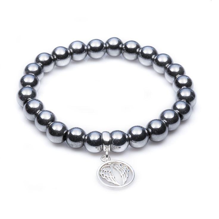 Hematyt szary ze skrzydłami (79pln) #Lapide #inspiracje #moda #kamienienaturalne #biżuteria #bransoletk i#dodatk i#srebro #wiosna #jewellery #jewelry #bransoletka #lifestyle #stars