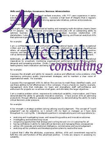 Management - Skills and Knowledge, Governance – Professional Resumes @ Anne McGrath Consulting