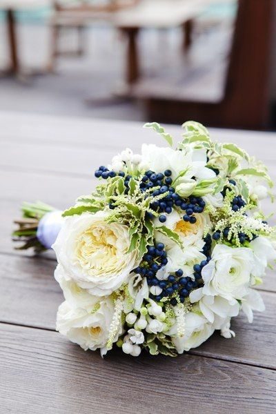 White and navy blue wedding bouquet by Marzipan wedding