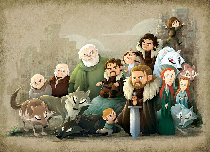 Fantastic Cartoon Illustration of House of Stark | Game of Thrones Fan Art