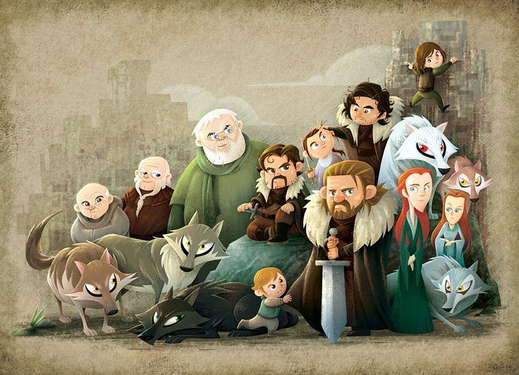 Fantastic Cartoon Illustration of House of Stark | Game of Thrones Fan Art