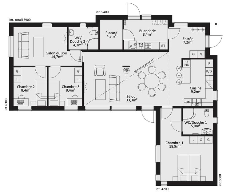 1112 best Plans images on Pinterest Small houses, Floor plans and - plan de maison 120m2 plain pied