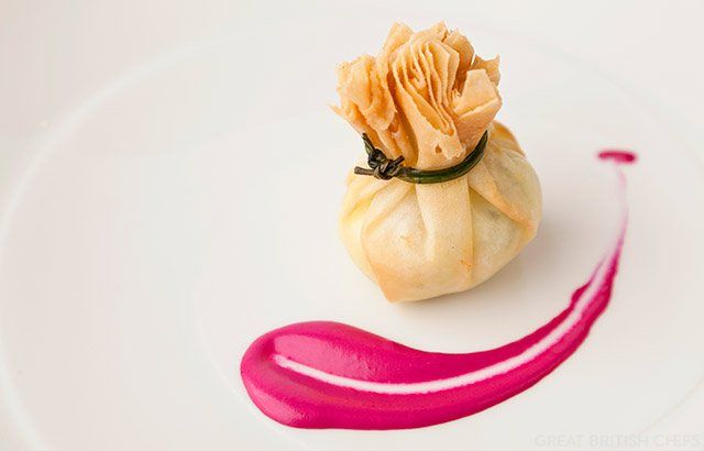 Turkey pine nut potli with beetroot mayonnaise by Vineet Bhatia