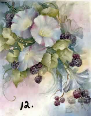 Study of Berries with Morning Glories for china painters and porcelain artists, available online in seminars and studies from Charlene Ferrell Whitler porcelain artist and teacher
