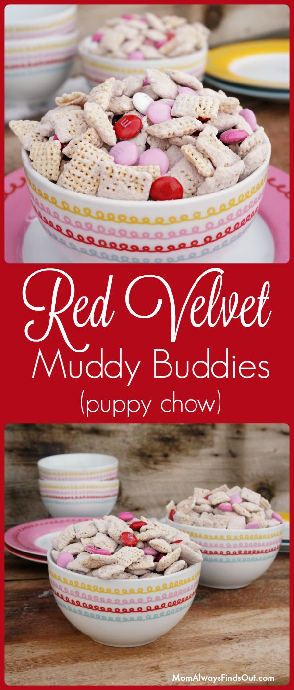 Red Velvet Puppy Chow Recipe (Muddy Buddies) - Mom Always Finds Out Easy Valentine's Day Snacks and Treats